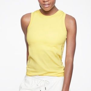Athleta Renew hip length ribbed tank top yellow M